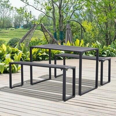 Outsunny® Bierzeltgarnitur Festgarnitur 3 tlg. Sitzgruppe 1 x Tisch 2 x Sitzbank Metall Schwarz 110 x 55 x 70 cm
