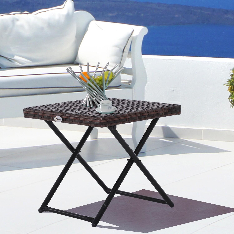 Outsunny® Gartentisch Beistelltisch Gartenmöbel Gartenhocker klappbar Polyrattan + Metall Braun 40 x 40 x 40 cm