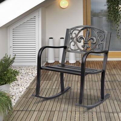 Outsunny® Schaukelstuhl Gartenstuhl antik Metall Bronze