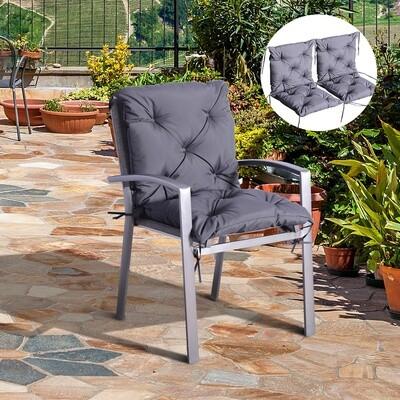 Outsunny® 2 x Niederlehner Auflage | Polster Stuhlauflage | Grau | 98 x 50 x 8 cm