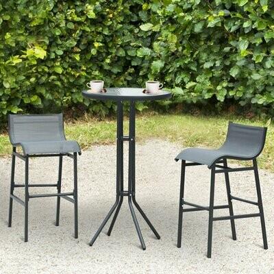 Outsunny® Garten Bartisch Set 3-tlg. Barset Gartenbar Sitzgruppe Barhocker Metall Grau
