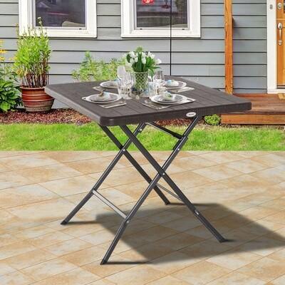 Outsunny® Klapptisch Gartentisch Esstisch Holz-Optik Kunststoff Braun L78 x B78 x H74cm