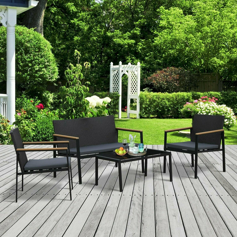 Outsunny® Garten Möbelset 4-teilige Sitzgruppe Sitzgarnitur 3 Sofa Couchtisch PP Rattan
