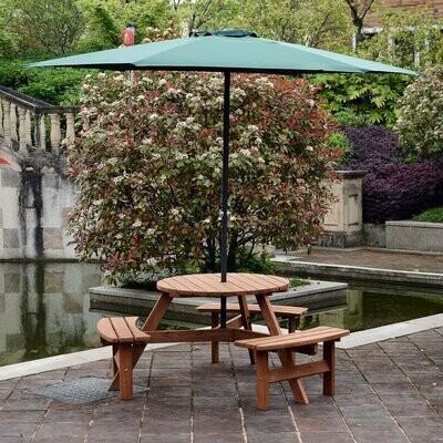 Outsunny® Sitzgruppe Garten Rundbank Sitzgarnitur Tischgruppe 3 Bänke 6 Personen Massivholz Natur