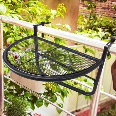 Outsunny® Balkonhängetisch Hängetisch höhenverstellbar halbrund Ø30 cm Terrasse Metall Schwarz L60 x B45 x H50 cm
