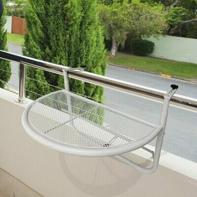 Outsunny® Balkonhängetisch Hängetisch höhenverstellbar halbrund Ø30 cm Terrasse Metall weiss L60 x B45 x H50 cm