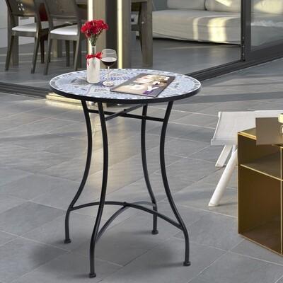 Outsunny® Gartentisch Balkontisch Mosaiktisch Seviertisch rund Stahl + Keramik Ø60 x H71 cm