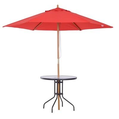 Outsunny® Gartentisch Balkontisch Bistrotisch Gartenmöbel mit Schirmloch Hartglas + Metall Schwarz Ø80 x 72 cm