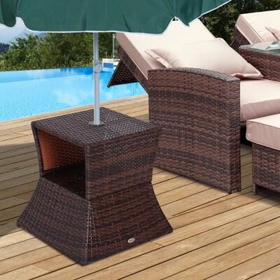 Outsunny® Gartentisch Beistelltisch Sonnenschirmständer Gartenmöbel Terrasse Polyrattan Braun 54 x 54 x 55 cm