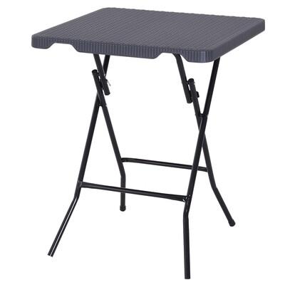 Outsunny® Falttisch Klapptisch Gartentisch klappbar Picknicktisch Campingtisch Kunststoff + Metall Dunkelbraun 60 x 60 x 74 cm