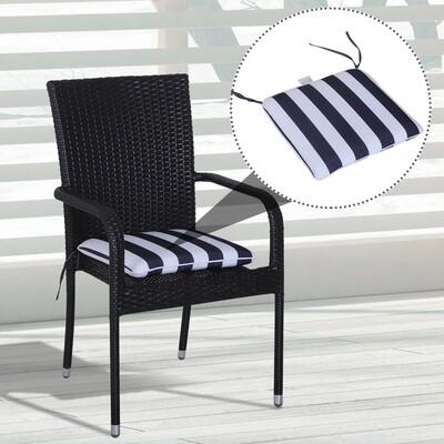 Outsunny® 6er-Set Sitzkissen Stuhlkissen Bodenkissen Polsterkissen Sitzauflage abnehmbar Bezug Blau + Weiss 42 x 42 x 5 cm