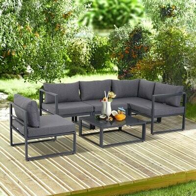 Outsunny® 6-tlg. Gartengarnitur Gartenset Sitzgruppe Gartenmöbel Alu 4 x Sessel 1 x Ecksofa 1 x Beistelltisch Kissen für 4–5 Personen