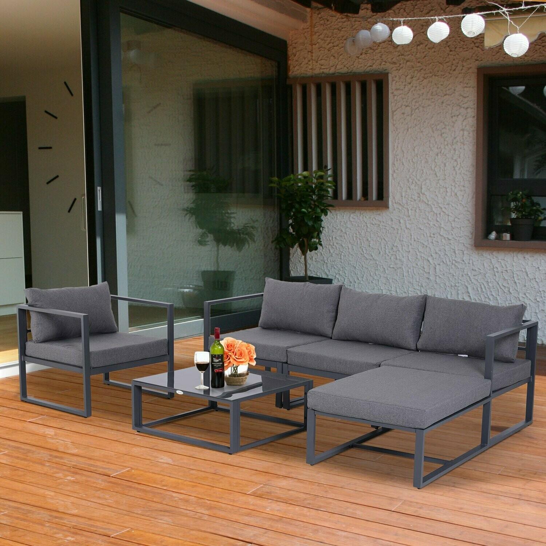 Outsunny® 6-tlg. Gartengarnitur Gartensofaset Sitzgruppe Gartenmöbel Alu Grau mit Kissen für 4–5 Personen