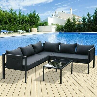 Outsunny® 4-tlg. Gartengarnitur Gartensofaset Sitzgruppe Gartenmöbel Schwarz 2 x Doppelsofa 1 x Ecksofa 1 x Beistelltisch Kissen für 5–7 Personen