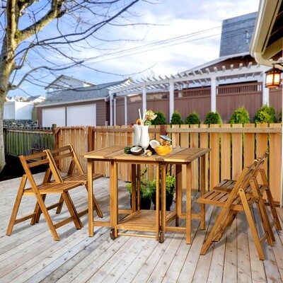 Outsunny® 5 tlg. Sitzgarnitur Gartensitzgruppe Esstischgruppe Gartenmöbel klappbar 1 Tisch + 4 Stühle Akazienholz Teak 100,5 x 82 x 75 cm