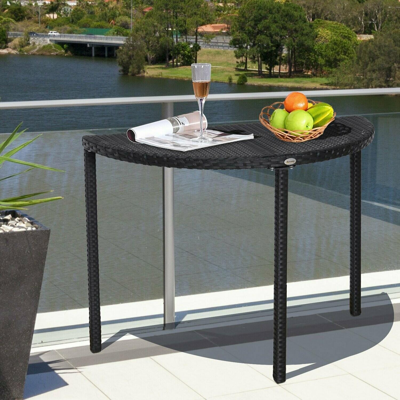 Outsunny® Balkontisch Garten Beistelltisch Tisch Gartenmöbel halbrund Polyrattan Schwarz 100 x 50 x 74 cm