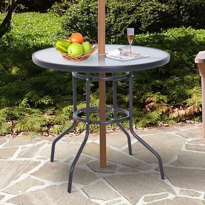 Outsunny® Gartentisch Garten Beistelltisch Gartenmöbel Balkontisch mit Schirmloch Schwarz Ø80 x 72 cm