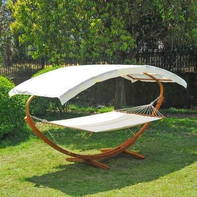 Outsunny® Hängematte Gartenliege mit Gestell Dach Holz