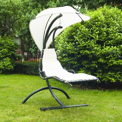 Outsunny® Hollywoodschaukel Hängesessel Schwingliege creme