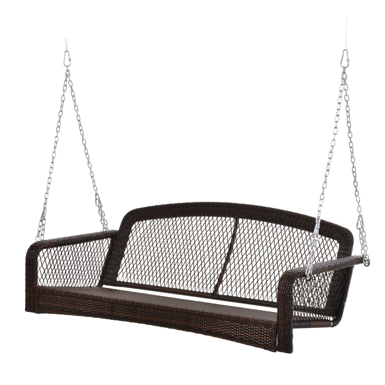 Outsunny® Gartenschaukel Schaukelbank Gartenbank für 2 Personen Terrasse Rattan Braun
