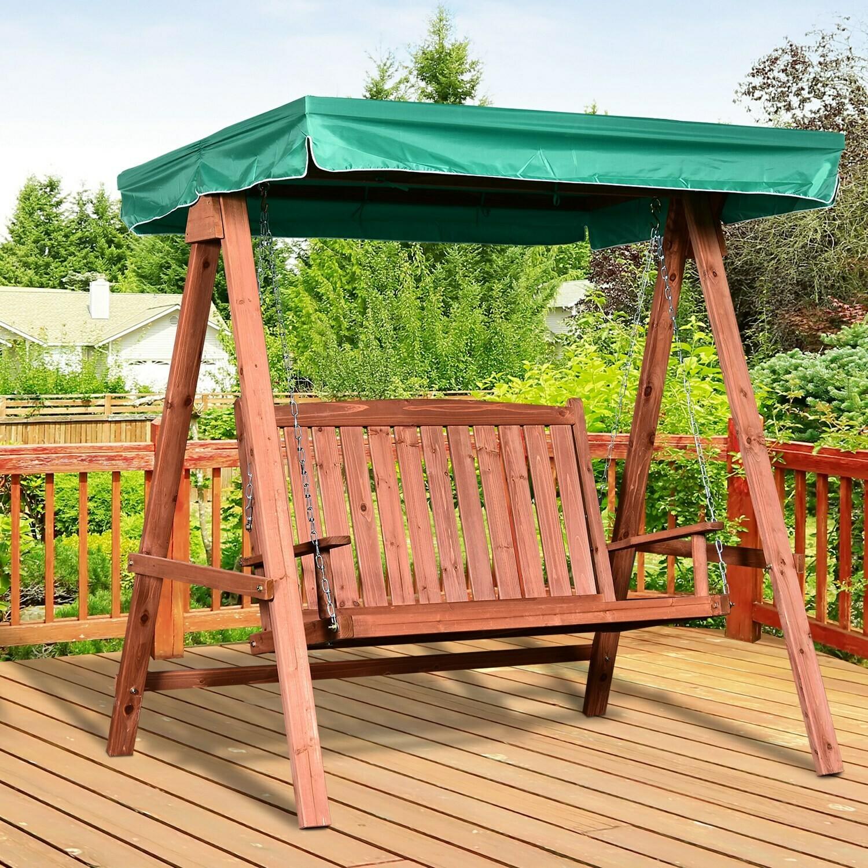 Outsunny® Gartenschaukel für 2 Personen Hollywoodschaukel Schaukelbank mit Dach Massivholz