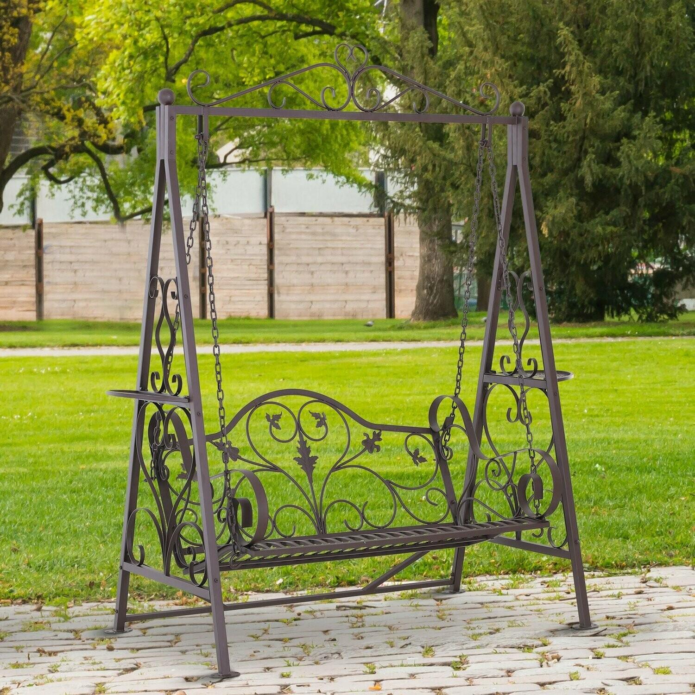 Outsunny® Hollywoodschaukel für 2 Personen Gartenschaukel mit Ablagen Stahl Braun