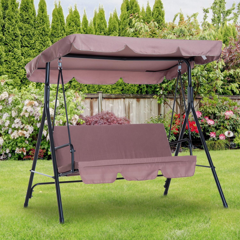 Outsunny® Hollywoodschaukel Gartenschaukel 3-Sitzer Braun