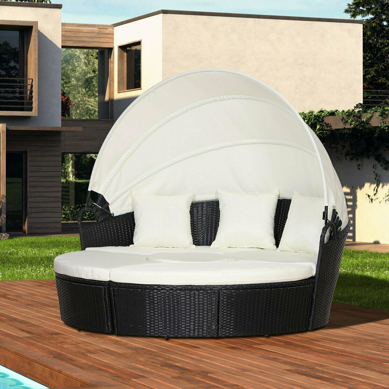 Outsunny® Rattan Sonneninsel Loungegruppe mit Sonnendach Sitzgruppe Kissen Metall Creme