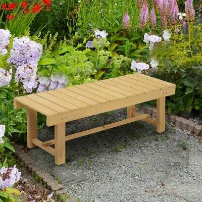 Outsunny® Gartenbank 2-Sitzer Sitzbank Holzbank Gartenmöbel Massivholz Natur 1,1 m