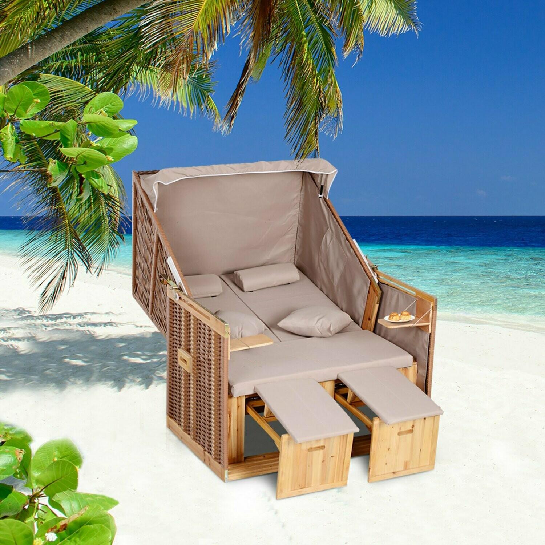 Outsunny® Strandkorb Doppelte Sonnenliege mit Dach Doppelliege Chaiselounge Getränkehaltern PE Rattan