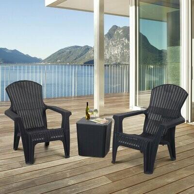 Outsunny® Dreiteiliges Gartenmöbel Set Sitzgruppe Stuhl Kaffeetisch Stauraum PP Schwarz