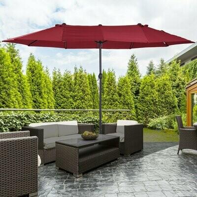 Outsunny® Sonnenschirm mit Handkurbel Gartenschirm Marktschirm Doppel 460x270cm Weinrot