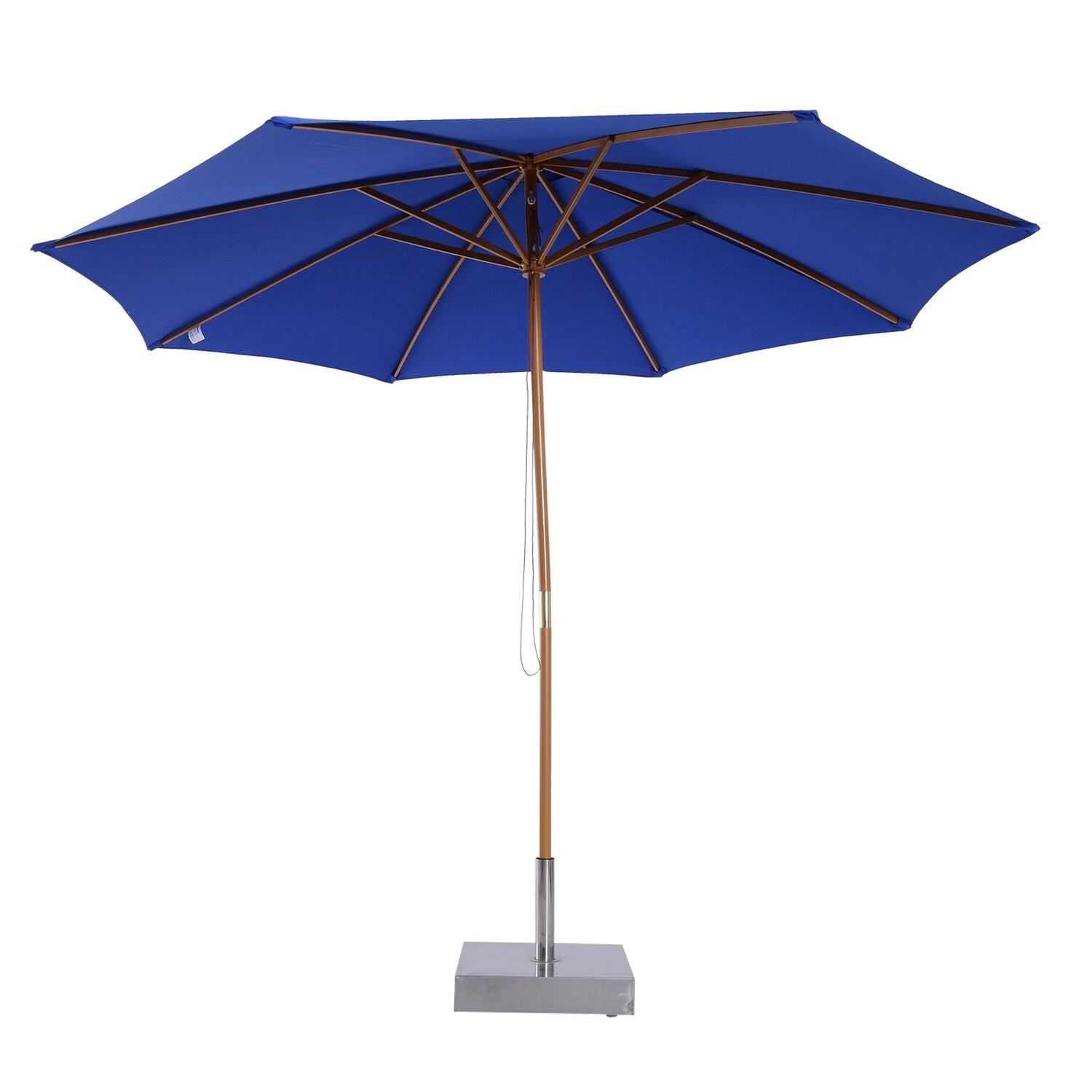 Outsunny® Holz Sonnenschirm 300x245cm Gartenschirm Balkonschirm Blau