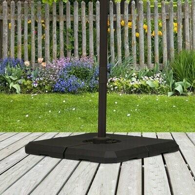 Outsunny® Schirmgewicht 4-tlg. Schirmständer 80 kg Wasser oder 120 kg Sand HDPE Schwarz