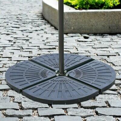 Outsunny® 2 tlg. Platten-Schirmständer | Halbrund | Mit abnehmbar Handgriff | mit Harz | Bronze | 30 kg
