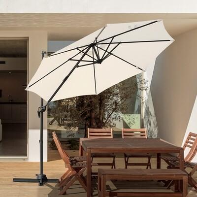 Outsunny® Sonnenschirm Gartenschirm Ampelschirm rund Roma mit Handkurbel 360° drehbar Creme Ø294 x 248 cm