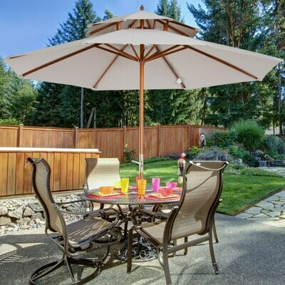 Outsunny® Holz Sonnenschirm Gartenschirm Doppeldach 270x260cm Hellgrau