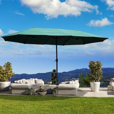 Outsunny® Sonnenschirm Marktschirm Gartenschirm Doppel Grün 460x270x240cm