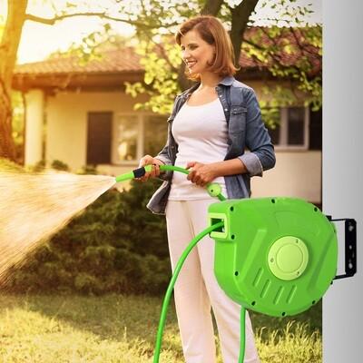 Outsunny® Schlauchtrommel Automatik 10m Schlauchaufroller schwenkbar Garten Grün