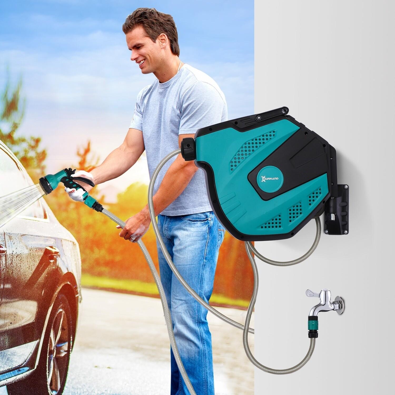 DURHAND® Schlauchtrommel Wandschlauchbox 180° schwenkbar Frostschutz -5–45 °C Kunststoff Grün + Schwarz 15 m