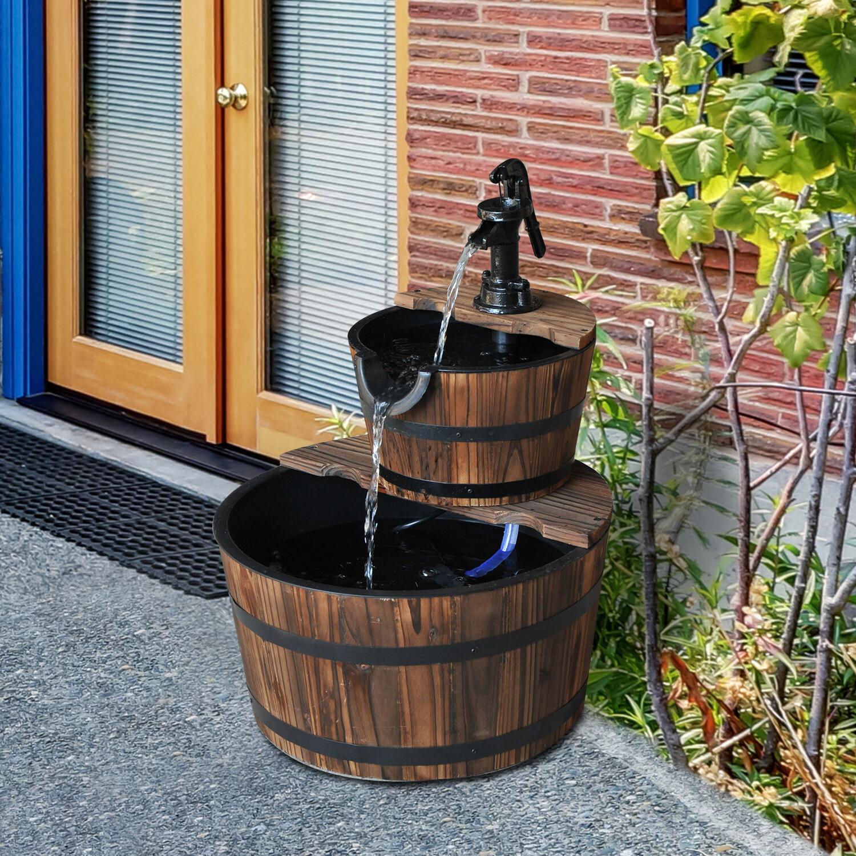 Outsunny® 2-stufig Gartenbrunnen Zimmerbrunnen Wasserspiel Kaskadenbrunnen Tannenholz Dunkelbraun