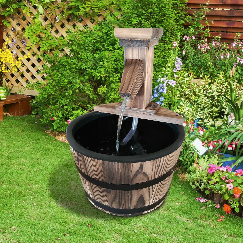 Outsunny® Gartenbrunnen Zierbrunnen Springbrunnen Fassbrunnen Wasserfall Holzfass Dunkelbraun ∅27 x 37 cm