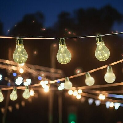 Outsunny® Solar-LED Gartenbeleuchtung Lichterkette, Warm Leuchtung, 2er Set, 20 Birne, Wasserfest, 3,8 m pro Kette