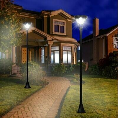 Outsunny® Solar Gartenlaterne mit LED Laterne Wegleuchte 91/200 Lumen H170cm Schwarz