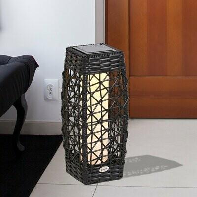 Outsunny® Solarlampe Rattan Gartenlampe Wegbeleuchtung Lichtsensor automatisch wetterfest kaffeebraun L19 x B19 x H48 cm