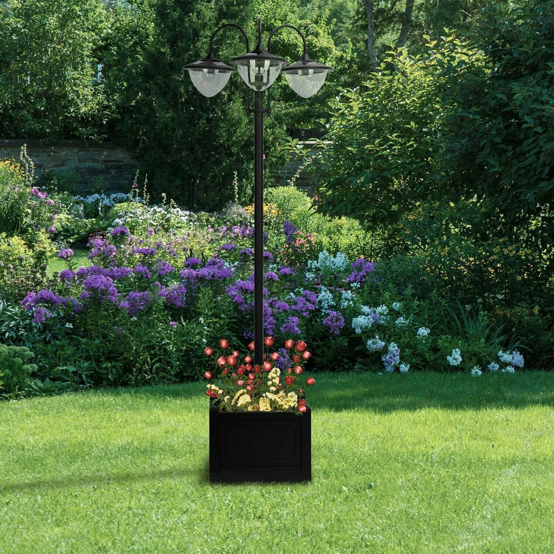 Outsunny® Solarleuchte Gartenlicht 3-köpfige Lampe mit Blumentopf-Basis Wasserdicht Edelstahl 60 x 55 x 189 cm
