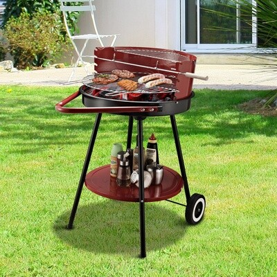 Outsunny® Holzkohlegrill auf Rollen Rundgrill Standgrill Holzkohle Rost BBQ Metall Rot