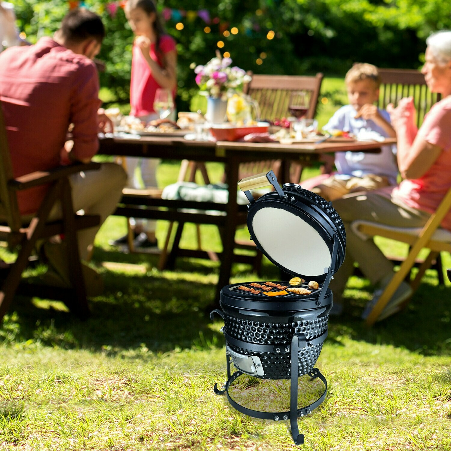 Outsunny® Hochleistungs-Holzkohlengrill BBQ Campinggrill Abschliessbarer Deckel Thermometer Gusseisen