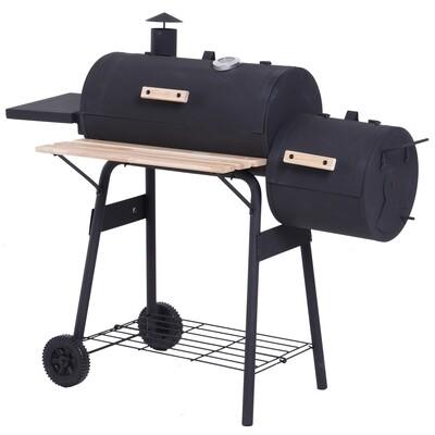 Outsunny® Smoker Grill BBQ Holzkohlengrill Grillwagen mit 2 x Brennkammer Schornstein Schwarz 124 x 53 x 108 cm