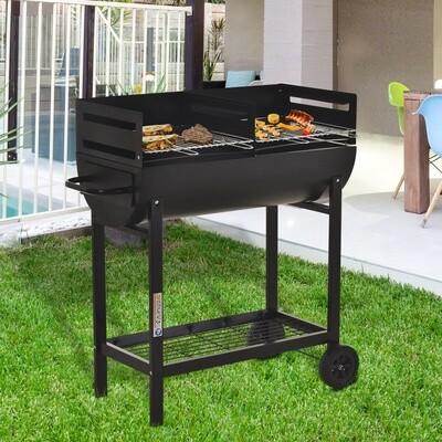 Outsunny® Grillwagen Grillstation Standgrill mit Windschutz 2 x Grillrost höhenverstellbar